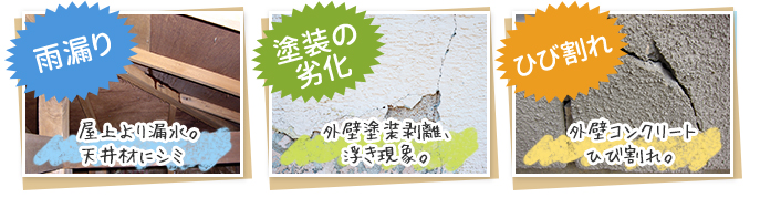 雨漏り 塗装の劣化 ひび割れ